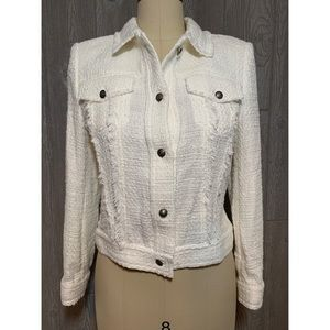 IRO White Cotton Fringe Jacket FR40 US8 NWT $550